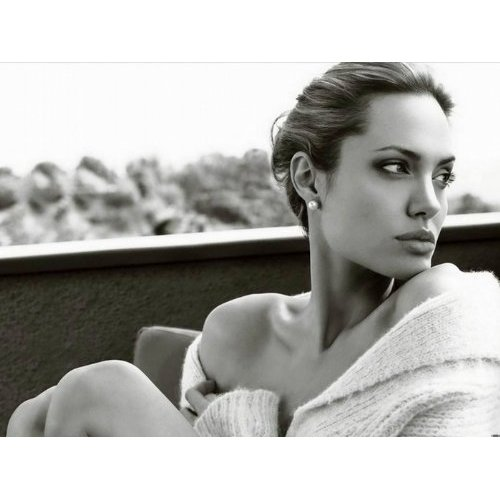 Angelina Jolie stylish black and white face shot.