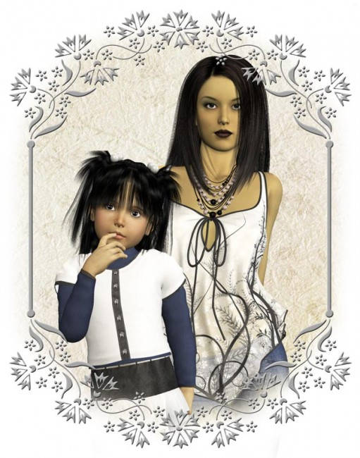 Picture of a Chinese mother and her daughter with a silver-gray frame.