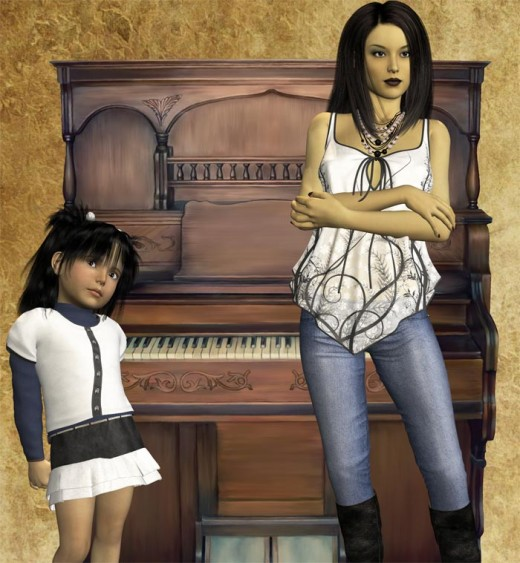 Chinese mother and daughter standing apart, in front of a piano.