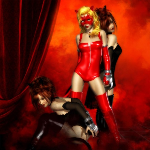 Three cat girls. Black catgirl crouching on the left, masked red catgirl standing boldly, and another black catgirl standing behind.