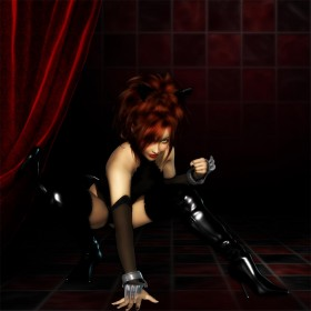 Black catgirl in a crouching position on a checkered floor and background.