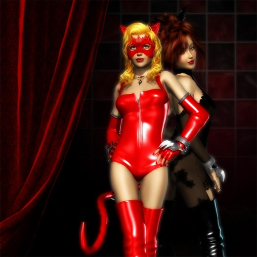 Red catgirl standing with hands on hips and tail to the left. Black catgirl to the right.