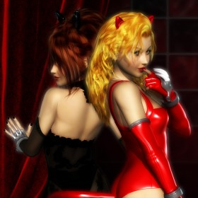 Red cat girl on the right with finger on lips. Black catgirl to the left and facing back.