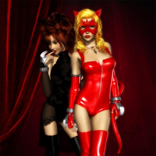 Red masked catgirl standing boldly in front, black catgirl turned to the left in the back.