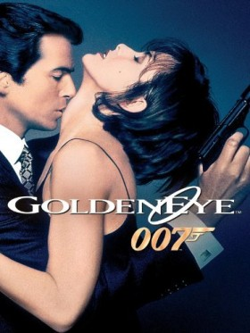 Pierce Brosnan kissing neck of a beautiful woman while holding a gun. Image from Amazon.com.