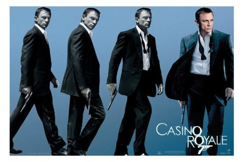 Sequence of images with Daniel Craig walking and holding a gun. Image from Amazon.com.