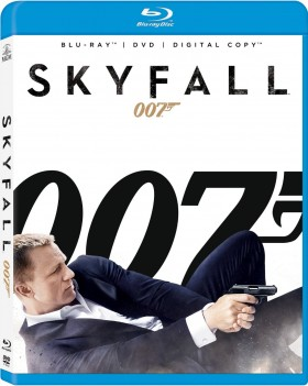 Daniel Craig lying down and holding a gun, with words 007 and Skyfall in the background. Image from Amazon.com.