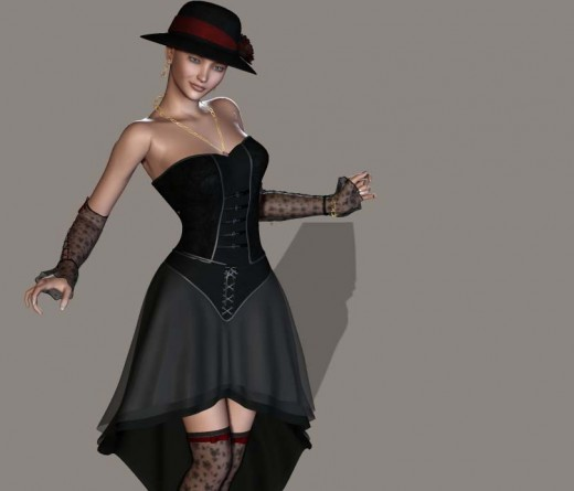 More flamboyant attractive woman with hat, gloves, corset, and stockings.