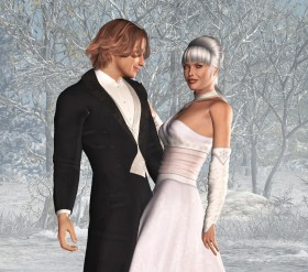 Bride in white to the right and groom in black tuxedo to the left on a white winter background.