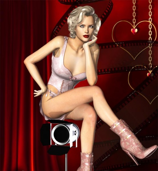 Movie star wearing high boot heels sitting on a movie camera.