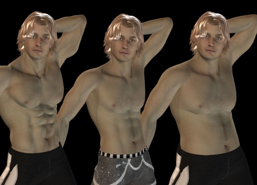 Three blonde men with the same face and pose, but with different body types.
