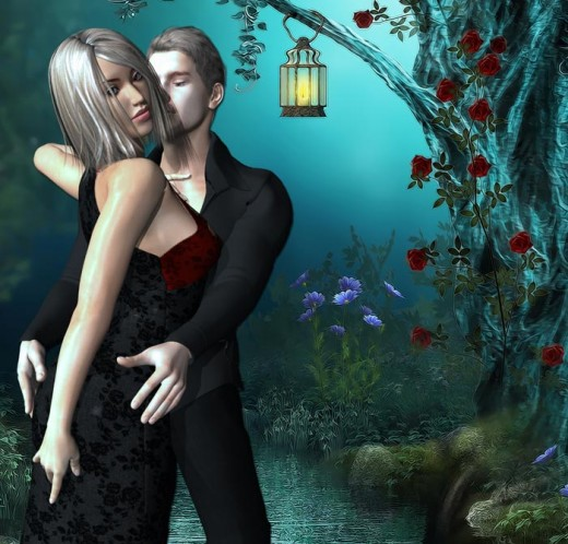 Man in black dancing with blonde woman in black on a blue night with lamp and roses in background.