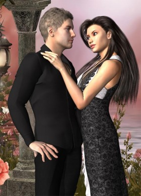Man in black with hands on hips, lady in black dress with hand on man's shoulder.