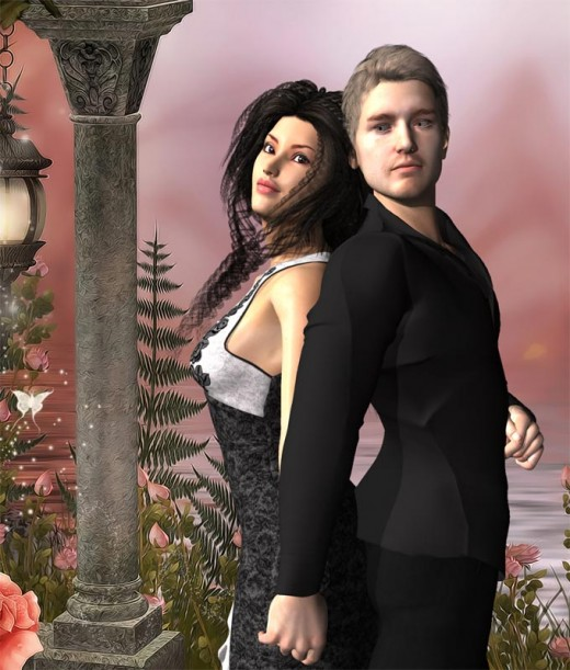 Man in black standing back to back with lady in black dress.