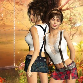 Short woman leaning forward and to the left, tall woman turned to the left (side profile). Sunset and swing fantasy background.
