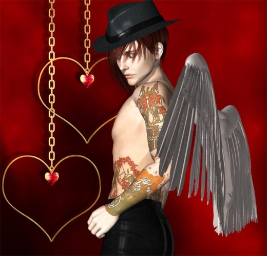 Bad boy Cupid with tattoos, white wings, red hair, and a black hat.