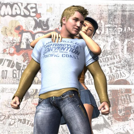 Boy in shirt and jeans in front being hugged by blonde girl with cap. Graffiti background.
