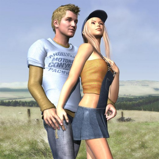 Boy in shirt and jeans holding hands with girl in cap and overalls in a green field of grass and blue skies.