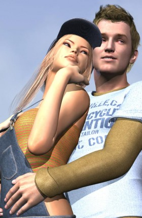 Young man in casual shirt hugging girl in cap and overalls.
