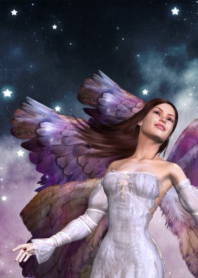 Dream angel with colorful wings, smiling and flying in the night sky.