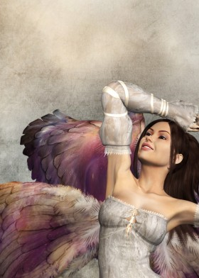 Side profile of dream angel with colorful wings, looking up and smiling, with arm lifted over head.