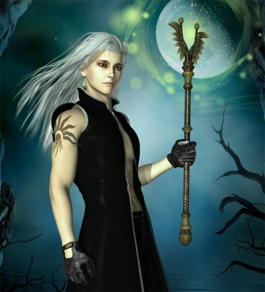 Dark dream wizard holding a magic staff, on a dark background with a large moon.