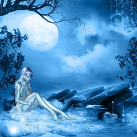 Blue dream girl sitting and playing in a calm pool of water, under a bright full moon.