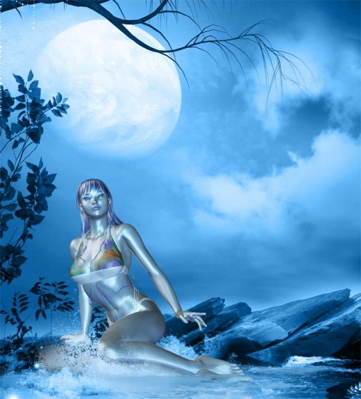 Blue dream lady sitting at the edge of water (pool), under a full moon.