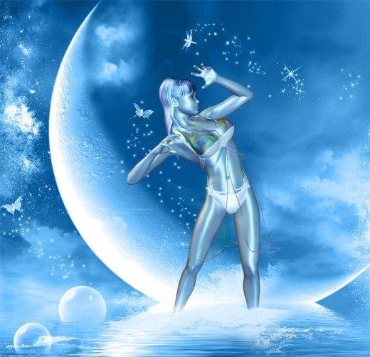 Blue dream girl standing ankle deep in water while catching fireflies, in front of a backdrop of a large moon.
