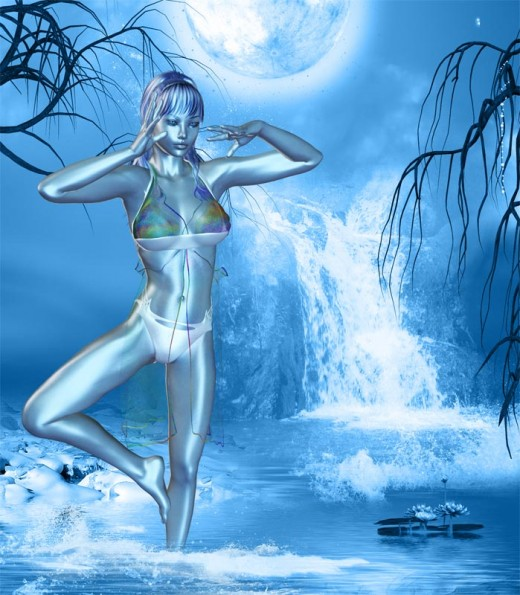 Blue dream girl standing ankle deep in water, in Yoga pose, in front of a waterfall.