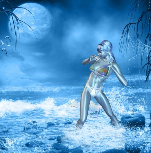 Blue dream girl standing knee deep in turbulent water and waves, looking somewhat fearful.