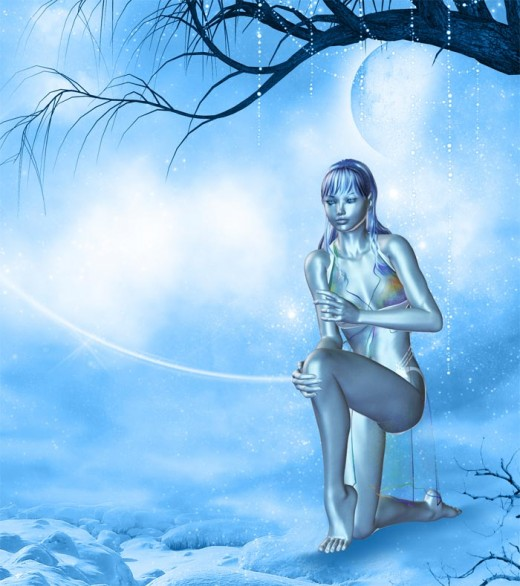 Blue dream girl kneeling on the ground, next to some water. Two moons and branches in the background.