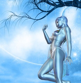 Blue dream girl holding right hand up in a fist, with tree branches above her. Bottom up camera angle.