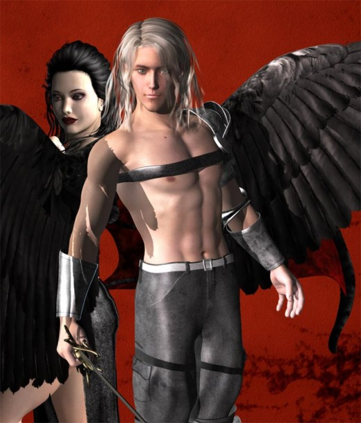Avenging dream angel with black wings and white hair holding a sword.