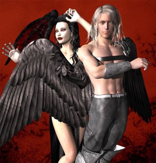 Dark male dream angel in front, dressed for war, and with arm out. Dark female dream angel in the back.