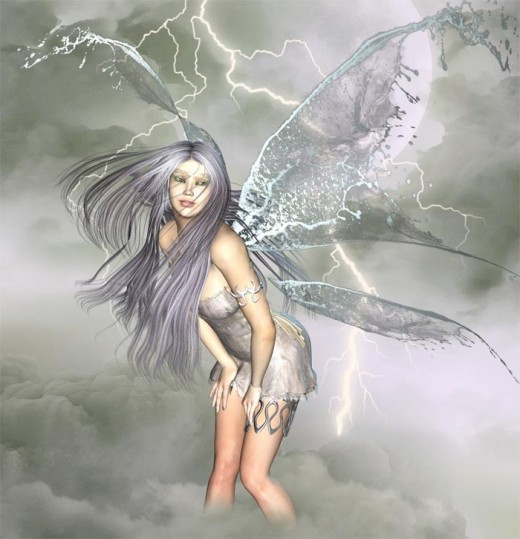 White dream angel standing knee deep in clouds, in the middle of a thunderstorm in the sky.