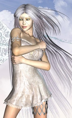 White dream angel with arms around body in protection, and hair whipped back.