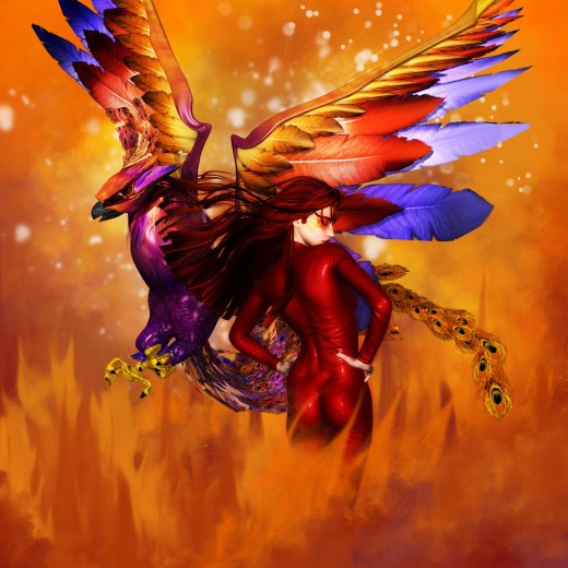 Fire Goddess turned to the right, flying Phoenix turned to the left. Both figures are back to back on a fiery background.