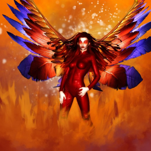 Fire Goddess standing with colorful Phoenix wings sprouting from her back.