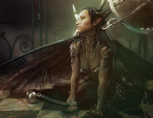 Gothic girl with horns, wings, and claws chained to the ground with manacles. Gothic Fantasy Woman Art. Daz Studio Iray image.