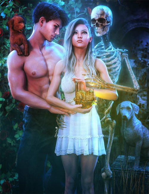 Love, loss, and depression. White haired girl holding a mechanical steampunk heart. Love is represented by a man and puppy on one side and loss is represented by a skeleton and grave on the right side. Fantasy woman art. Daz Studio Iray image.