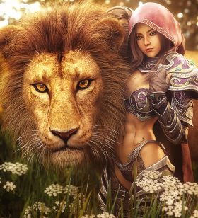 Love between fantasy girl and lion. Cute armored warrior girl with hood and lion. Fantasy woman pinup 3d-art. Flowers and grass in the background. Daz Studio Iray image.