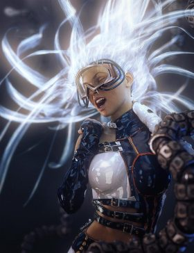 A closed-heart and judgmental criticism leads to abandonment and depression. Sci-fi girl with light emitting hair screaming with robotic tentacles all around her. Sci-fi fantasy woman art. Daz Studio Iray image.