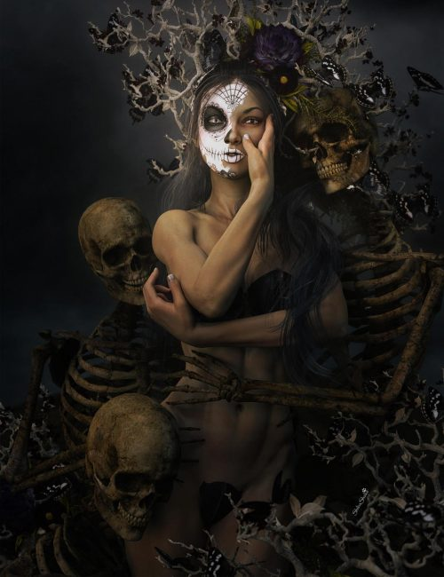 Depression, dark night of the soul. Day of the dead girl surrounded by skeletons, dark flowers, and butterflies. Gothic dark fantasy woman art. Daz Studio Iray image.