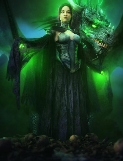 Depression and Envy. Evil queen with black dragon and glowing green eyes. Gothic dark fantasy 3d-art. Daz Studio Iray image.