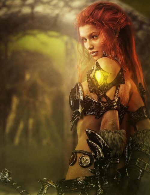 On a journey to enlightenment, transforming pain to limitless freedom. Red-haired warrior girl fantasy pinup 3d-art with skull mountain in the background. Daz Studio Iray image.