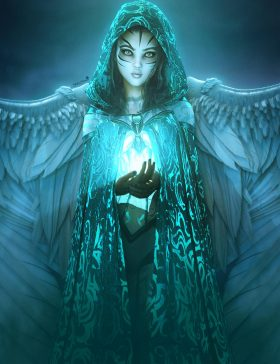 Otherworldly angel girl with wings and light in her cupped hands. Fantasy angel woman art. Daz Studio Iray image.