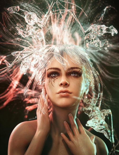 Feeling all of my emotions, including depression. Fantasy woman portrait with water dragons flying out of her water hair. Fantasy woman portrait art. Daz Studio Iray image.