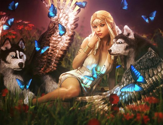 Loss and Depression. Blonde fantasy woman with two angel Husky dogs with wings and many blue butterflies. All are in a field of red flowers. Fantasy woman art. Daz Studio Iray image.