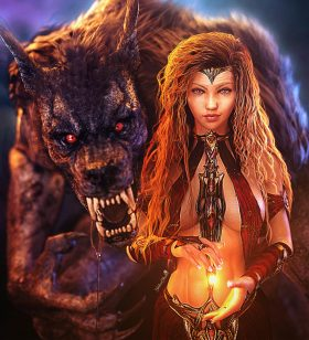 Love and fear duality. Large scary werewolf with redhead fantasy woman conjuring a magical light. Pinup Gothic 3d-art. Daz Studio Iray image.